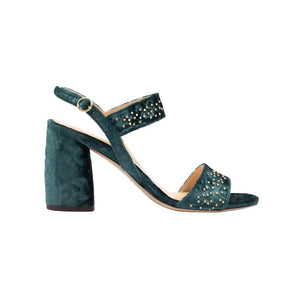 Side view of Emilia laser cut, green velvet wrapped, open toe, chunky heel sandal