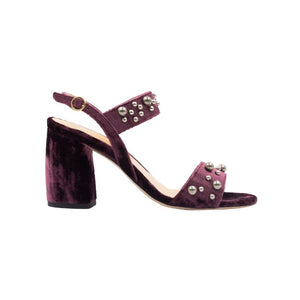 Side view of Emilia bacco velvet wrapped, open toe, chunky heel sandal with ankle strap