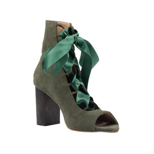 Left angel of Cortina birch colored, suede, lace up boot with complimentary satin ribbon