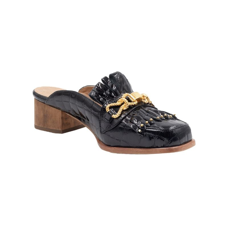 b6d97e0754 Left angle of Aspen black patent leather loafer with front tassels and gold  hardware