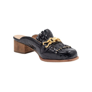 Left angle of Aspen black patent leather loafer with front tassels and gold hardware