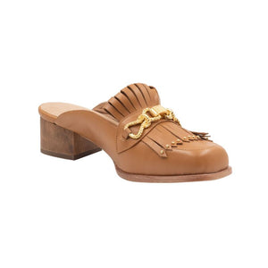 Left angle of Aspen canyon colored leather loafer with front tassels and gold hardware