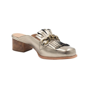 Left angle of Aspen metallic copper leather loafer with front tassels and bronze hardware