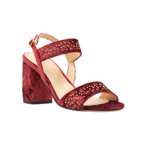 Front angle of Emilia fuocco velvet, chunky heel sandal. Two straps across the foot with gold studs