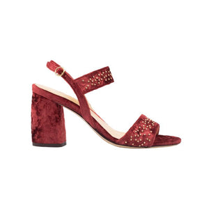 Side view of Emilia laser cut, fuocco velvet wrapped, open toe, chunky heel sandal