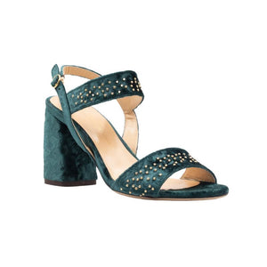 Front angle of Emilia green velvet, chunky heel sandal. Two straps across the foot with gold studs
