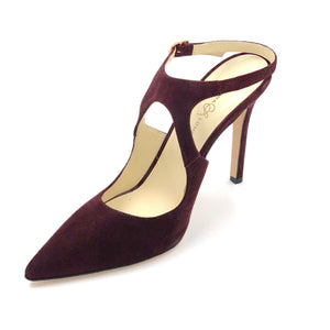 Left angle of Nadia bacco suede heel with floating ankle strap and pointed toe shape