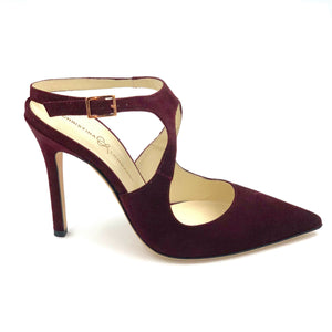 Profile of Nadia bacco suede heel with floating buckle ankle strap and pointed toe shape