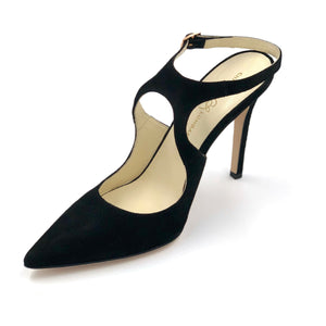 Left angle of Nadia black suede heel with floating ankle strap and pointed toe shape