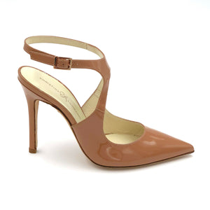 Profile of Nadia nude patent heel with floating buckle ankle strap and pointed toe shape