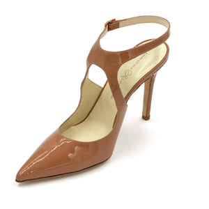 Left angle of Nadia nude patent heel with floating ankle strap and pointed toe shape