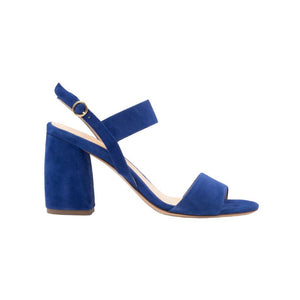 Side view of Emilia navy suede wrapped, open toe, chunky heel sandal