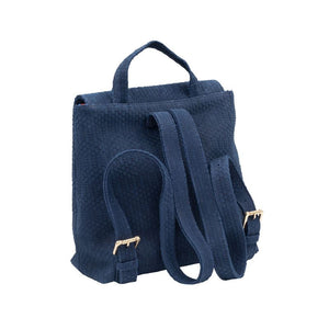 Back of Navy Santa Monica backpack with two adjustable back straps and a top handle