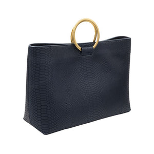 Wilshire Navy Kobra embossed leather medium size purse with gold circular handles