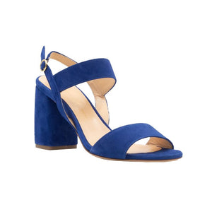 Front angle of Emilia navy suede, chunky heel sandal. Two straps across the foot and an ankle strap
