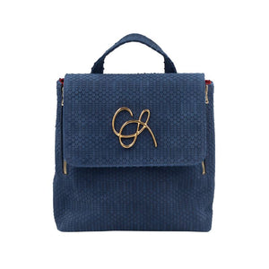Front of Navy Santa Monica backpack with a magnetic close flap and gold hardware logo