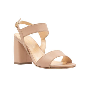 Front angle of Emilia nude leather, chunky heel sandal. Two straps across the foot and ankle strap