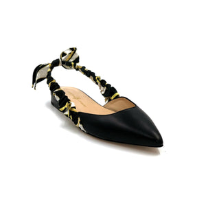 Paloma black nappa leather flat with patterned silk wrapped sling back and back bow