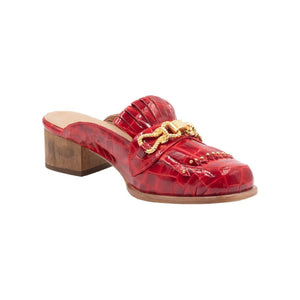 Left angle of Aspen red patent leather loafer with front tassels and gold hardware