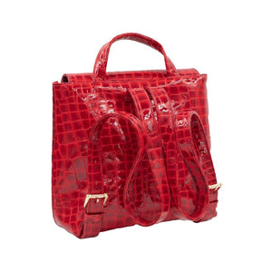 Back of Red Patent leather Santa Monica backpack with two adjustable back straps and a top handle