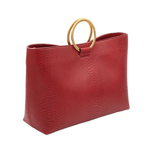 Wilshire Red Kobra embossed leather medium size purse with gold circular handles