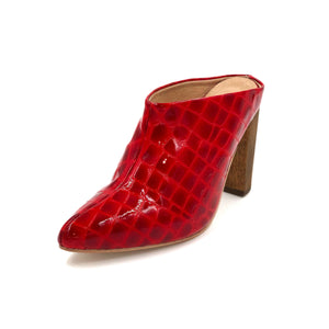 Zermatt red patent leather wrapped mule with a brown wooden, chunky heel