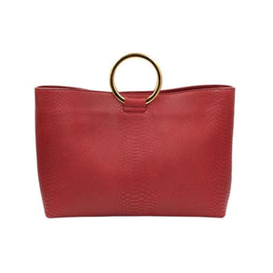 Front view of Wilshire Red Kobra embossed leather handbag with gold circular handles