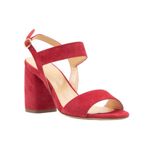 Front angle of Emilia red suede, chunky heel sandal. Two straps across the foot and an ankle strap