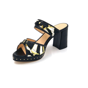Black Serena block heel sandal with black yellow and white patterned silk accents