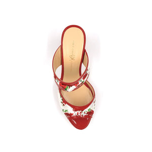 Top view of red Serena block heel sandal with red and white floral silk accents