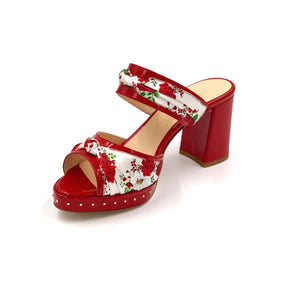 Red Serena block heel sandal with red and white floral silk accents