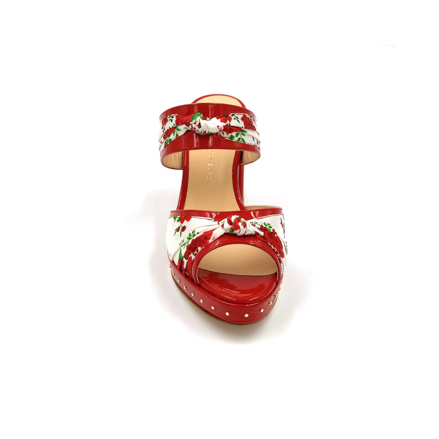 Profile of red Serena block heel sandal with red and white floral silk accents