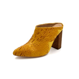 Zermatt yellow patterned leather wrapped mule with a chunky wooden heel