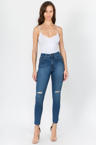 PLUS SIZE PREMIUM DENIM JEANS WITH SLITS