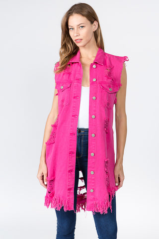 LONG DENIM VEST WITH DISTORTIONS -Wholesale Americanbazi