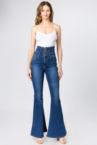 HIGH WAIST FLARE JEANS WITH TIED BACK -Wholesale Americanbazi