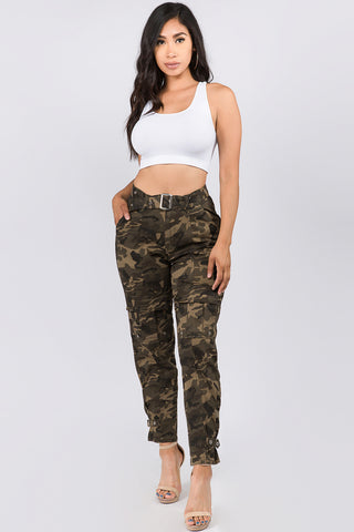 PLUS SIZE HIGH WAIST CARGO PANTS WITH BELT