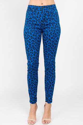 PLUS SIZE COLOR Leopard print Skinny Pants -Wholesale Americanbazi
