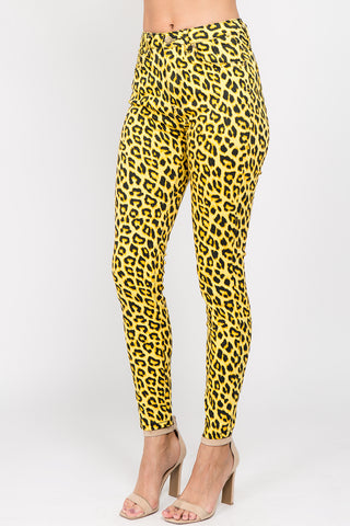 COLORED Leopard print Skinny Pants -Wholesale Americanbazi