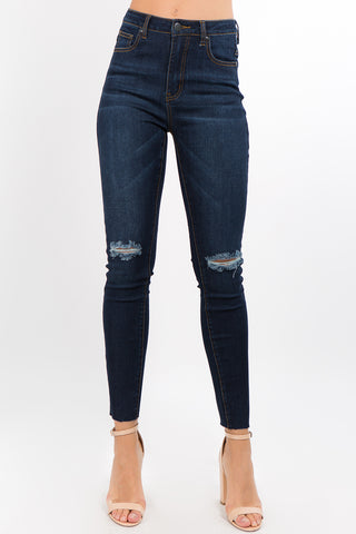 PLUS SIZE BASIC DENIM SKINNY JEANS WITH SLITS -Wholesale Americanbazi