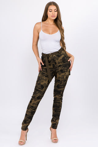 PLUS SIZE HIGH WAIST SKINNY CARGO PANTS -Wholesale Americanbazi