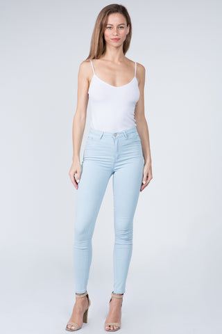 PLUS SIZE BASIC HIGH RISE SUPER SKINNY DENIM JEANS -Wholesale Americanbazi