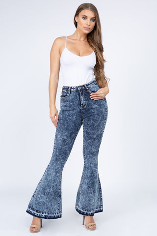 PLUS SIZE HIGH WAIST DENIM FLARED BOTTOM JEANS -Wholesale Americanbazi