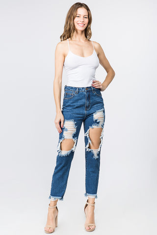 HIGH WAIST CUT OUT DISTRESSED MOM JEANS