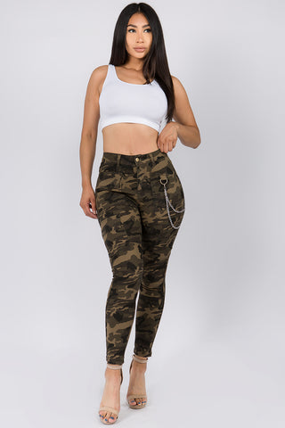 PLUS SIZE HIGH WAIST SKINNY PANTS WITH CHAINS