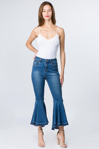 HIGH WAIST FLARED BOTTOM DENIM JEANS -Wholesale Americanbazi