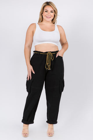 PLUS SIZE HIGH WAIST ROLL UP CARGO PANTS