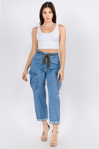 HIGH WAIST ROLL UP CARGO PANTS