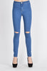 PLUS SIZE High Rise One Knee Cut Skinny Pants -Wholesale Americanbazi