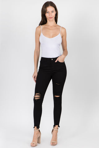 HIGH WAIST DISTRESSED DENIM SKINNY JEANS -Wholesale Americanbazi